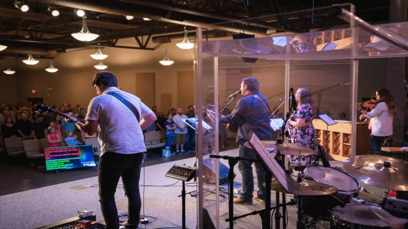 Worship band at Providence Church